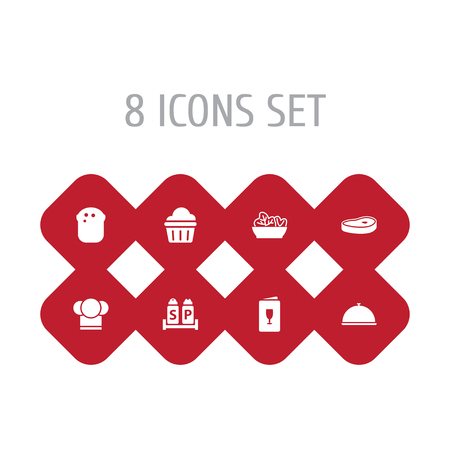 Set Of 8 Bar Icons Set.Collection Of Condiments, Meat, Chef And Other Elements.