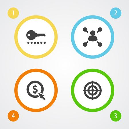 Set Of 4 Search Icons Set. Illustration