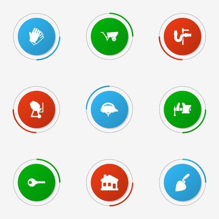 Set Of 9 Work Icons Set. Illustration