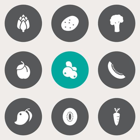 Set Of 9 Food Icons Set. Ilustração