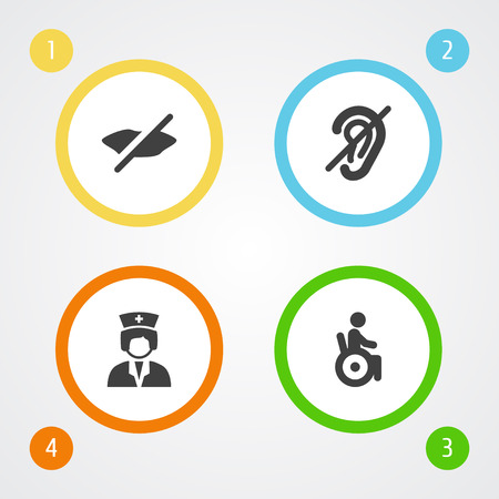 Set Of 4 Disabled Icons Set.