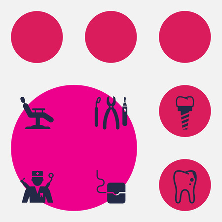 Set Of 6 Dentist Icons Set.Collection Of Halitosis, Orthodontist, Implantation And Other Elements. Stock Photo