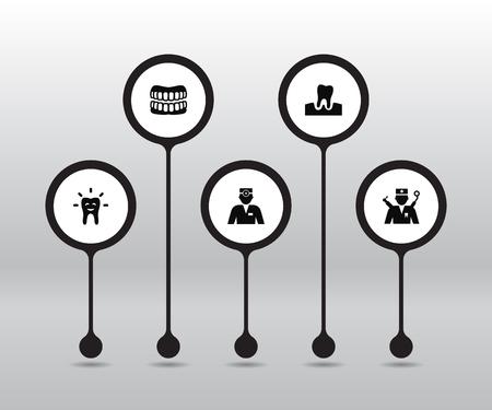 Set Of 5 Dentist Icons Set. Illustration