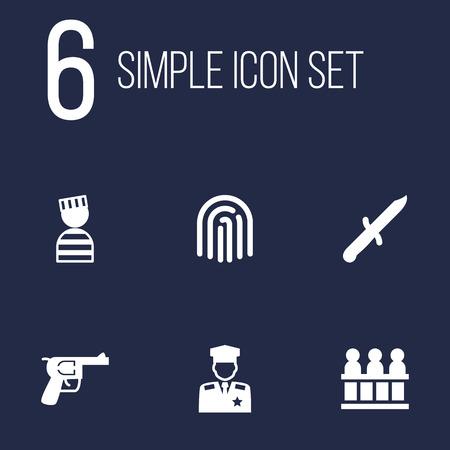 Set Of 6 Criminal Icons Set. Illusztráció