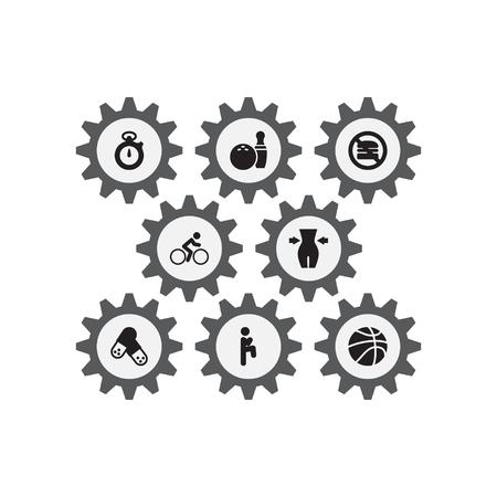Set Of 8 Training Icons Set.