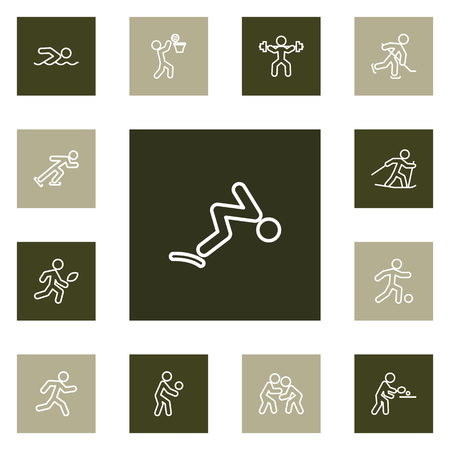 Set Of 13 Athletic Outline Icons Set.Collection Of Ski Running, Basket, Puck And Other Elements.