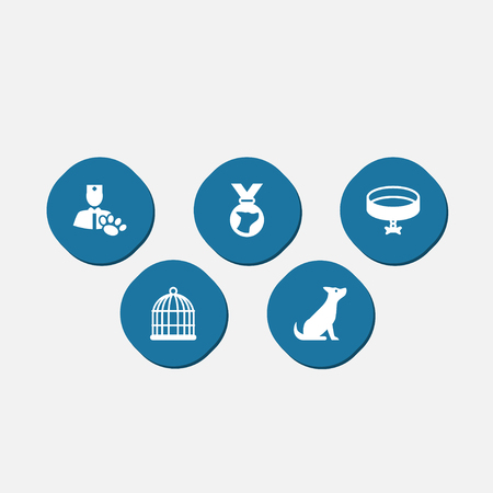Set Of 5 Pets Icons Set, Collection Of Veterinarian, Medallion, Dog And Other Elements in white silhouette illustration.