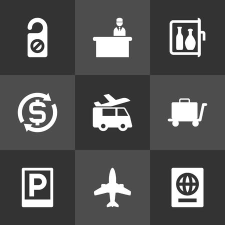 9ホテルアイコンセット.道路標識、通貨、休憩時間およびその他の要素のコレクション。