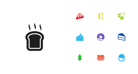 Set Of 10 Cooking Icons Set.Collection Of Crepe, Slice Bread, Grain And Other Elements. Иллюстрация
