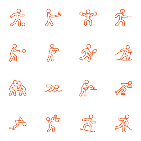 Set Of Athletic Outline Icons Set.Collection Of Rocket, Pong Ping, Snowboard And Other Elements.