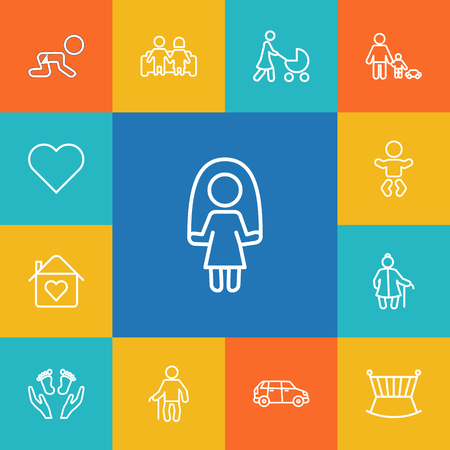 Set Of 13 Family Outline Icons Set.Collection Of Crib, Care, Stroller And Other Elements. Illustration