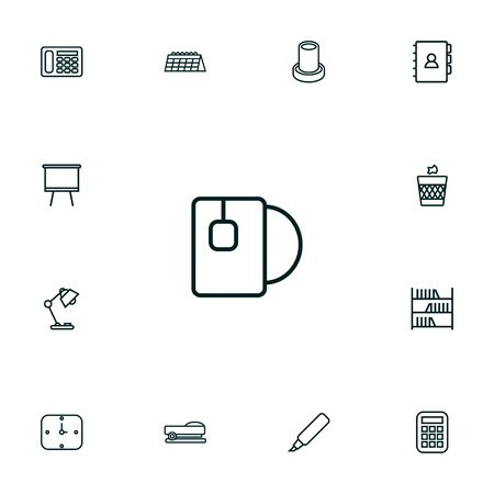 Set Of 13 Bureau Outline Icons Set.Collection Of Wastebasket, Book, Staple And Other Elements.