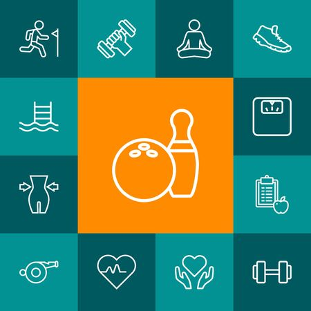 Set Of 13 Training Outline Icons Set.Collection Of Diet, Yoga, Pool And Other Elements.