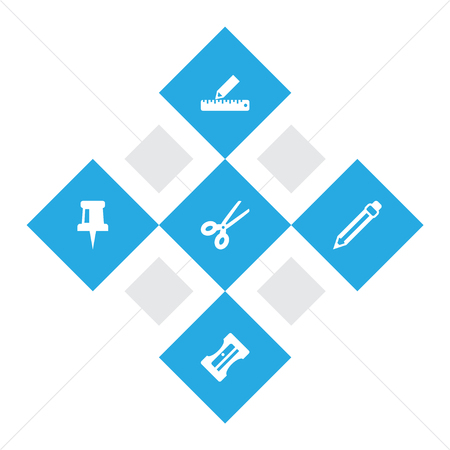 Set Of 5 Instruments Icons Set.Collection Of Pencil, Supplies, Clippers And Other Elements.