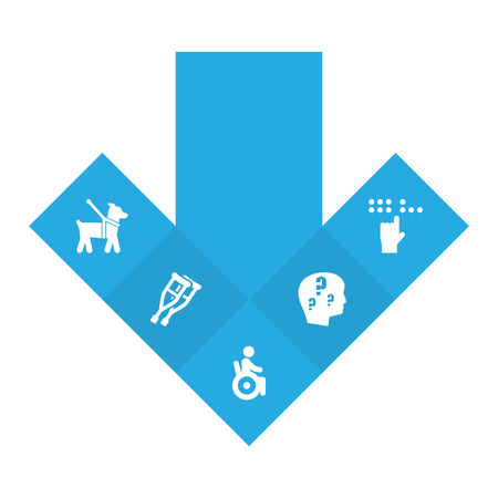 Set Of 5 Disabled Icons Set.Collection Of Universal Access, Brain With Question, Braille And Other Elements.