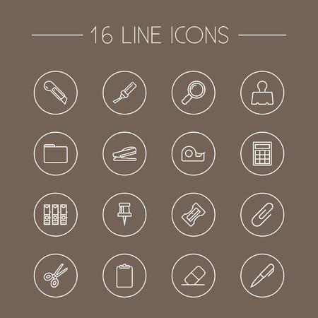 Ensemble de 16 icônes de contour de papeterie Set.Collection de portefeuille, presse-papiers, pince-notes et autres éléments. Banque d'images - 92093725