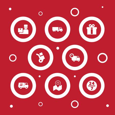 Ensemble de 8 icônes d'expédition Set.Collection de camion, service, camion et autres éléments. Vecteurs