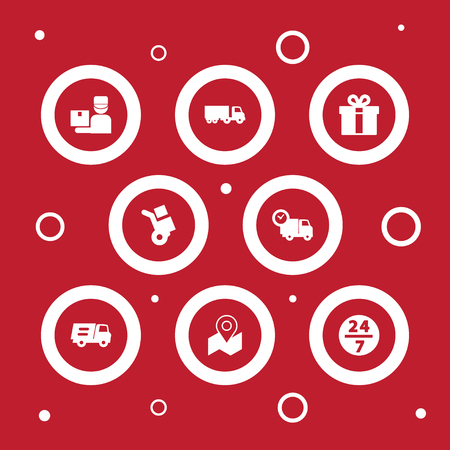 Set Of 8 Shipping Icons Set.Collection Of Lorry, Service, Truck And Other Elements.