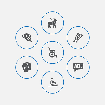 Set Of 7 Accessibility Icons Set.Collection Of Ramp, Lens, Stand Elements.