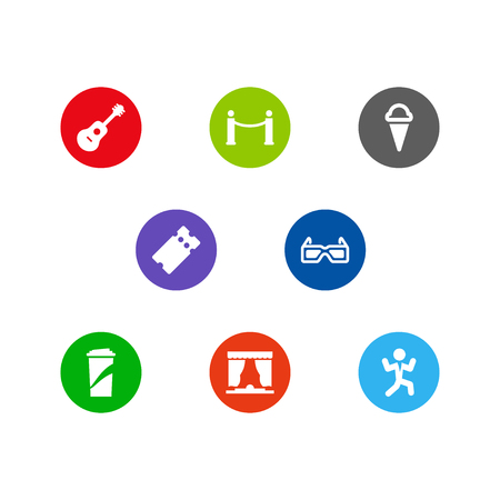 Set Of 8 Amusement Icons Set.Collection Of Curtain, Pass, Acoustic And Other Elements.