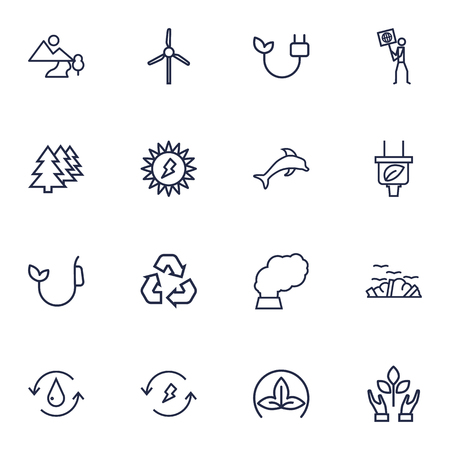 Set Of 16 Ecology Outline Icons Set.Collection Of Dolphin, Electricity, Pollution And Other Elements.