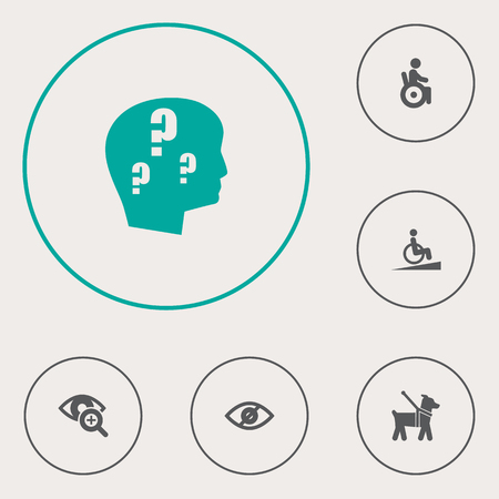 Collection Of Universal Access, Ramp, Lens And Other Elements.  Set Of 6 Accessibility Icons Set.   イラスト・ベクター素材