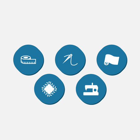 Collection Of Machine, Meter, Roll And Other Elements.  Set Of 5 Stitch Icons Set.