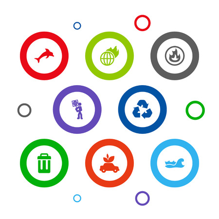 Collection Of Sea, Ecological, Volunteer And Other Elements.  Set Of 8 Bio Icons Set.