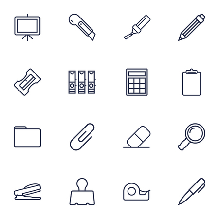 Set Of 16 Stationery Outline Icons Set.Collection Of Puncher, File Folder, Whiteboard And Other Elements.