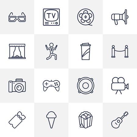 Set Of 16 Pleasure Outline Icons Set.Collection Of Guitar, Movie Cam, Photo Camera And Other Elements. Illustration