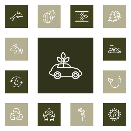 Set Of 13 Atmosphere Outline Icons Set.Collection Of Ecologist, Fuel, Ecol And Other Elements.