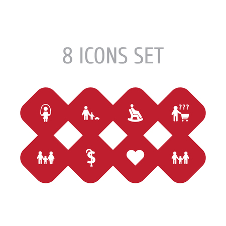 Set Of 8 Family Icons Set.Collection Of Parent, Father With Son, Pension And Other Elements.