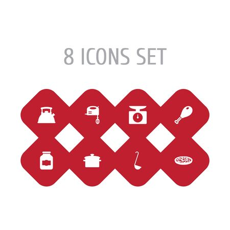 Set Of 8 Cooking Icons Set.Collection Of Blender, Teapot, Saucepan And Other Elements.