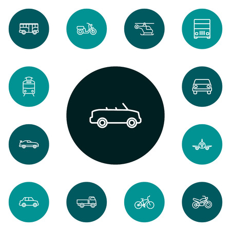 Set Of 13 Shipping Outline Icons Set.Collection Of Front View, Coupe, Car And Other Elements.
