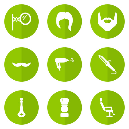 Set Of 9 Hairdresser Icons Set.Collection Of Elbow Chair, Hairstyle, Looking-Glass And Other Elements.