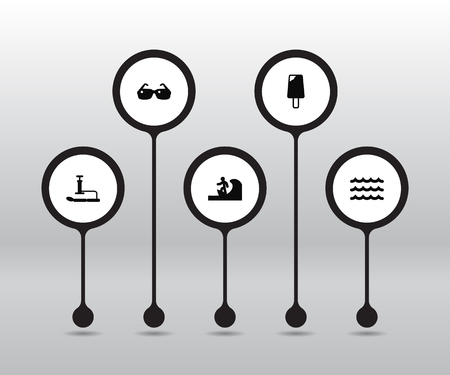 Set Of 5 Coast Icons Set.Collection Of Inflating, Eyeglasses, Surfing And Other Elements.