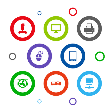 Set Of 8 Laptop Icons Set.Collection Of Joystick, Control Device, Display And Other Elements.