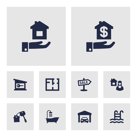 Set Of 10 Property Icons Set.Collection Of Lock, Car, Property And Other Elements.
