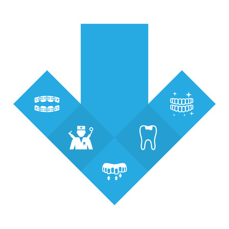 Set Of 5 Teeth Icons Set.Collection Of Brace, Stabilize, Hygiene And Other Elements.