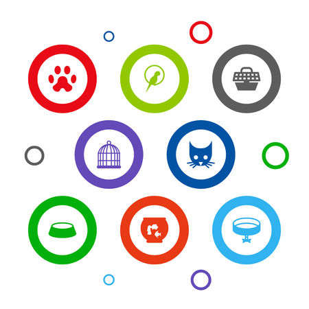 Set Of 8 Mammal Icons Set.Collection Of Cat, Birdcage, Bird And Other Elements. Stock Illustratie