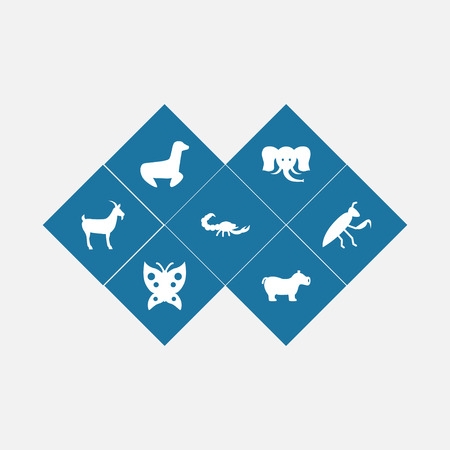 Collection Of Livestock, Playful, Grasshopper And Other Elements.  Set Of 7 Animal Icons Set.  Illustration