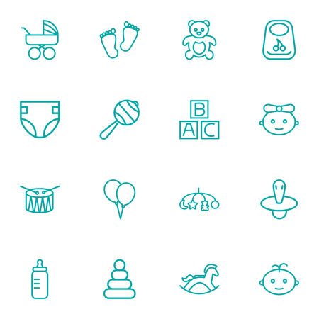 Set Of 16 Child Outline Icons Set.Collection Of Nipple, Teddy, Bib And Other Elements.