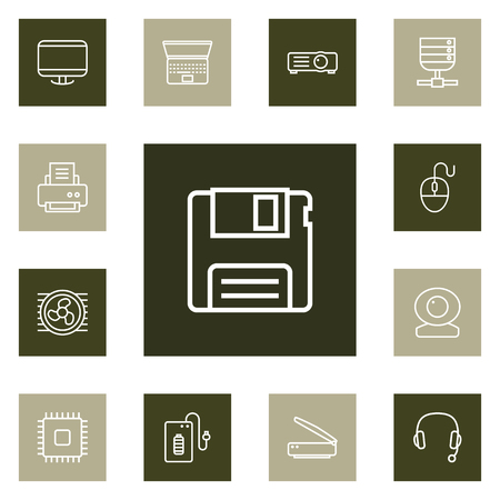 Collection Of Powerbank, Laptop, Computer Mouse And Other Elements. Set of Computer Outline Icons Set.