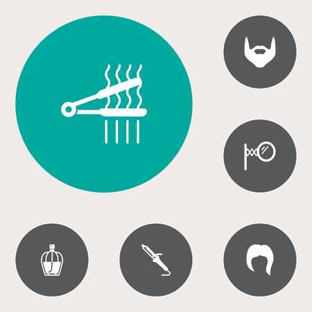 Collection Of Hairstyle, Hipster, Hairstylist And Other Elements.  Set Of 6 Hairdresser Icons Set.