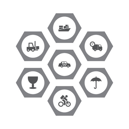 Collection Of Delivery, Cab, Goblet And Other Elements.  Set Of 7 Cargo Icons Set.  Illustration