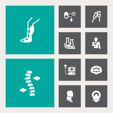 Collection Of Stand, Spine, Hypertension Elements.  Set Of 10 Healthy Icons Set.