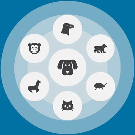 Collection Of Aquila, Hound, Polar And Other Elements.  Set Of 7 Animal Icons Set.