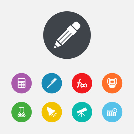 Collection Of Telescope, Formula, Writing And Other Elements.  Set Of 9 School Icons Set.