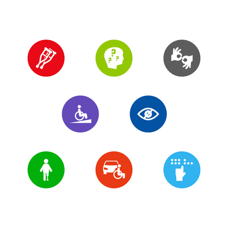 Collection Of Braille, Blindness, Brain With Question And Other Elements. Set Of Disabled Icons Set.
