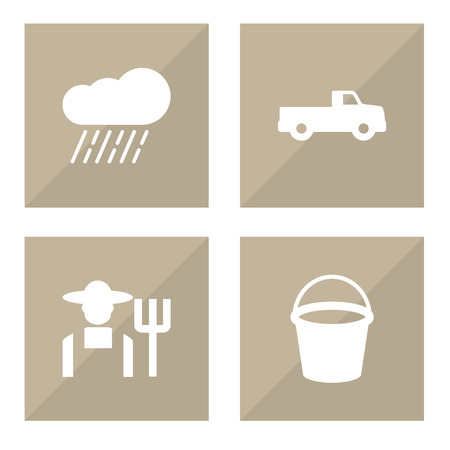 Collection Of Pickup, Pail, Cloud And Other Elements. Set Of Agriculture Icons Set.